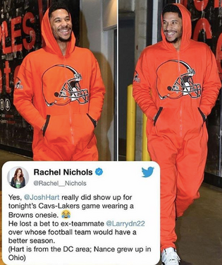 Josh Hart Arrives To Cavs & Lakers Game In Browns Onesie