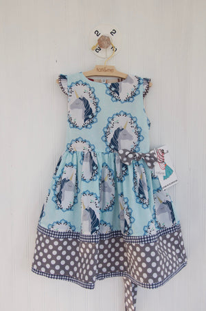 Unicorn border dress- 2 yr old