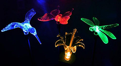 solaration kb1041 solar stake flower hummingbird butterfly and dragonfly garden stake lights four