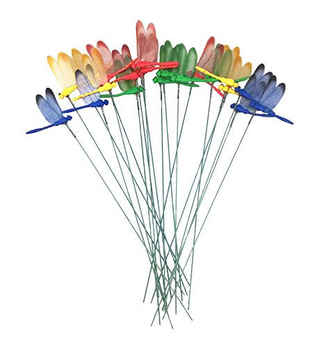 Yueton 20pcs Garden Yard Planter Colorful Whimsical Dragonfly Lawn Stakes Garden  Ornaments U0026 Patio Decoration ...