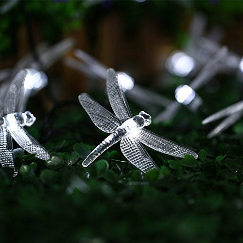 ... Icicle Dragonfly Solar String Lights, 16ft 20 LED 8 Modes Waterproof  Fairy Lighting For Christmas ...