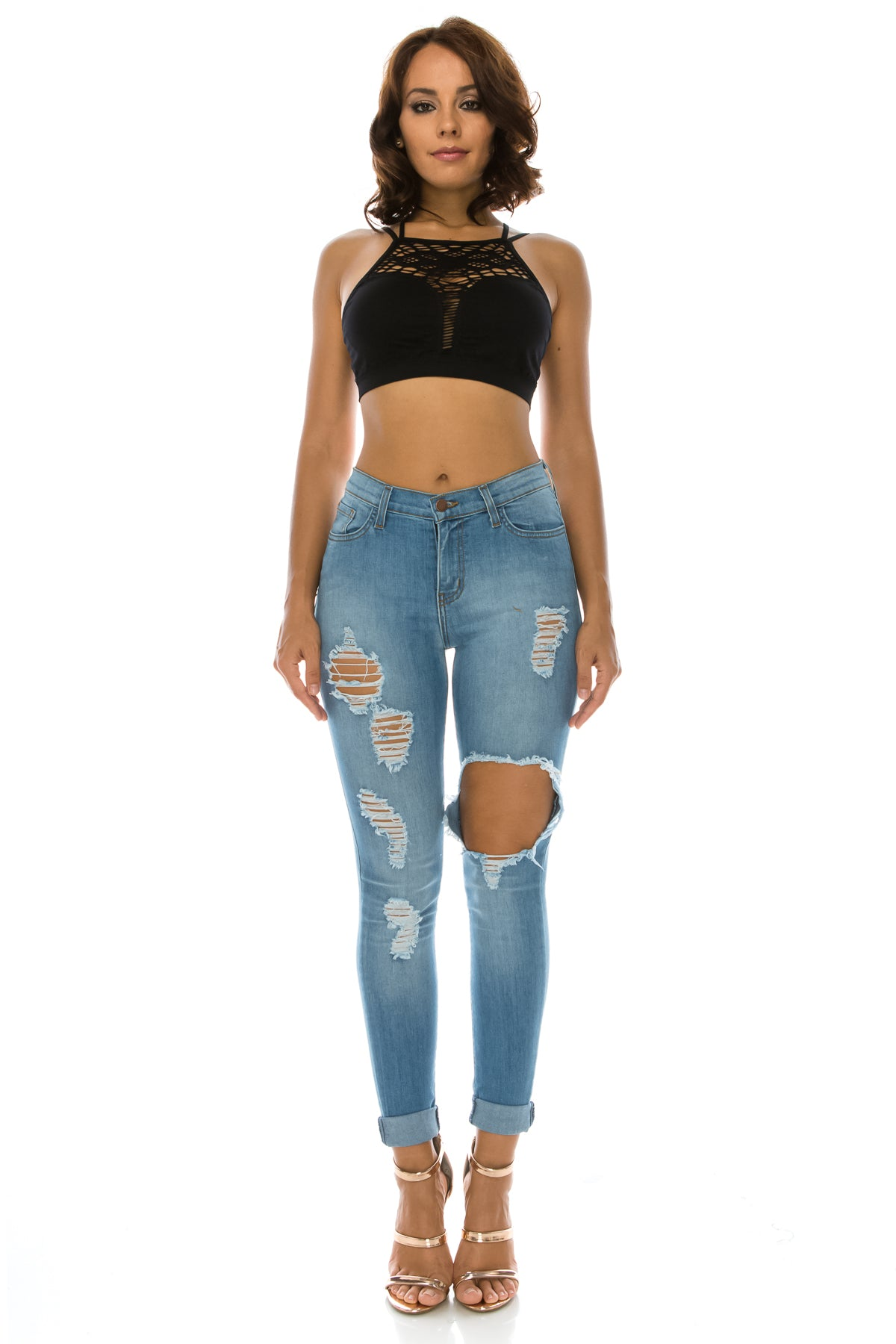 High Rise Heavy Distressed Rolled Up Jeans