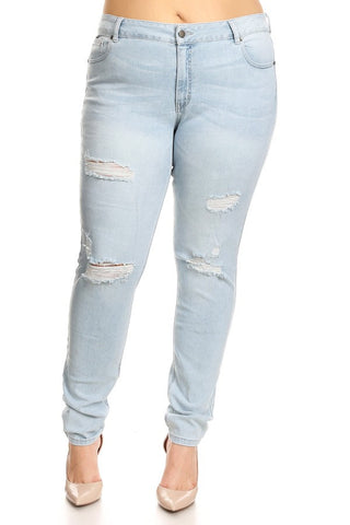 Mid Rise 5 Pocket Skinny Destroyed Denim