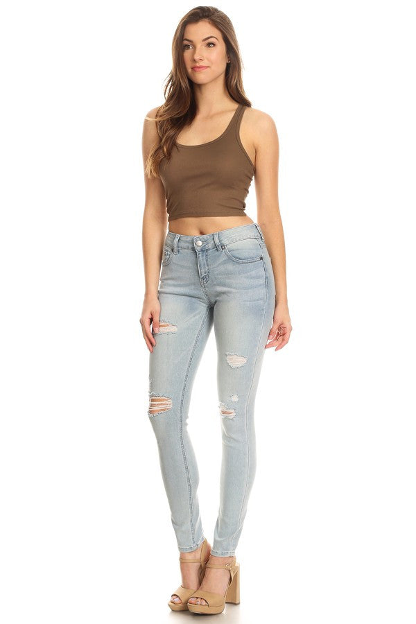 Light Blue Mid Rise 5 Pocket Skinny