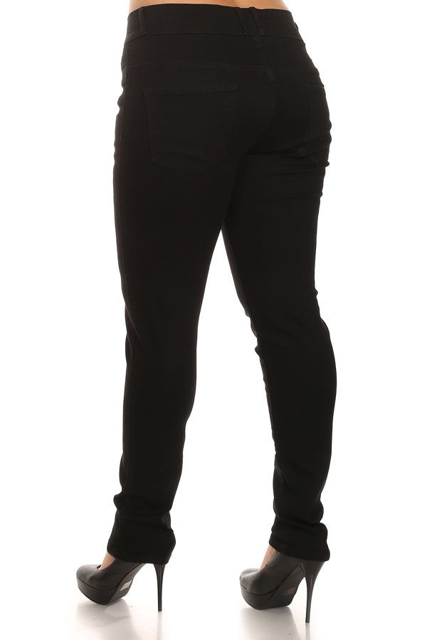 Button Fly Mid Rise Skinny Black