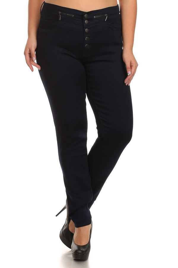 Button Fly Mid Rise Skinny Indigo