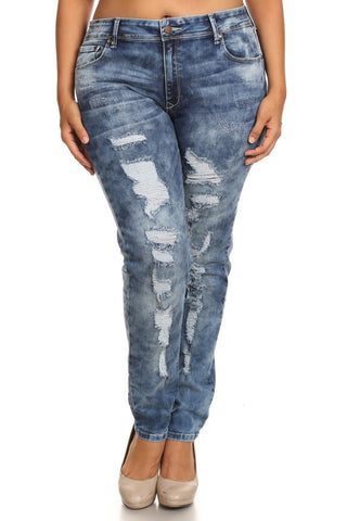 Mid Rise 5 Pocket Skinny Denim Cat Scratches
