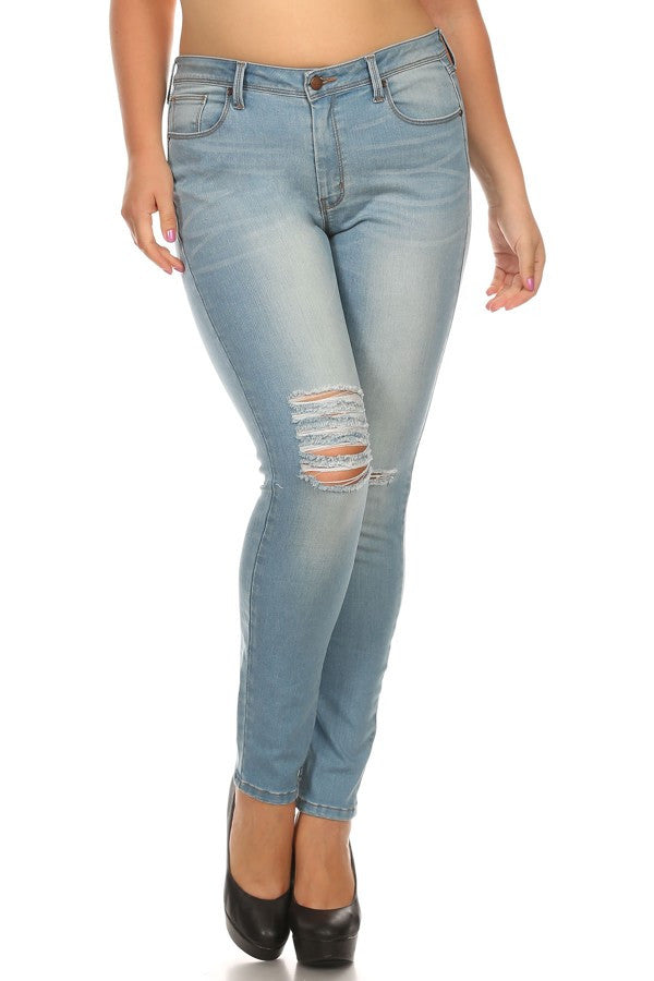 Mid Rise 5 Pocket Skinny Ripped Knee Slices