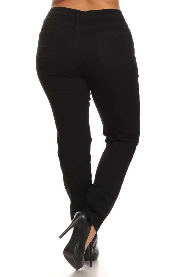 Mid Rise Skinny Destroyed Denim Black