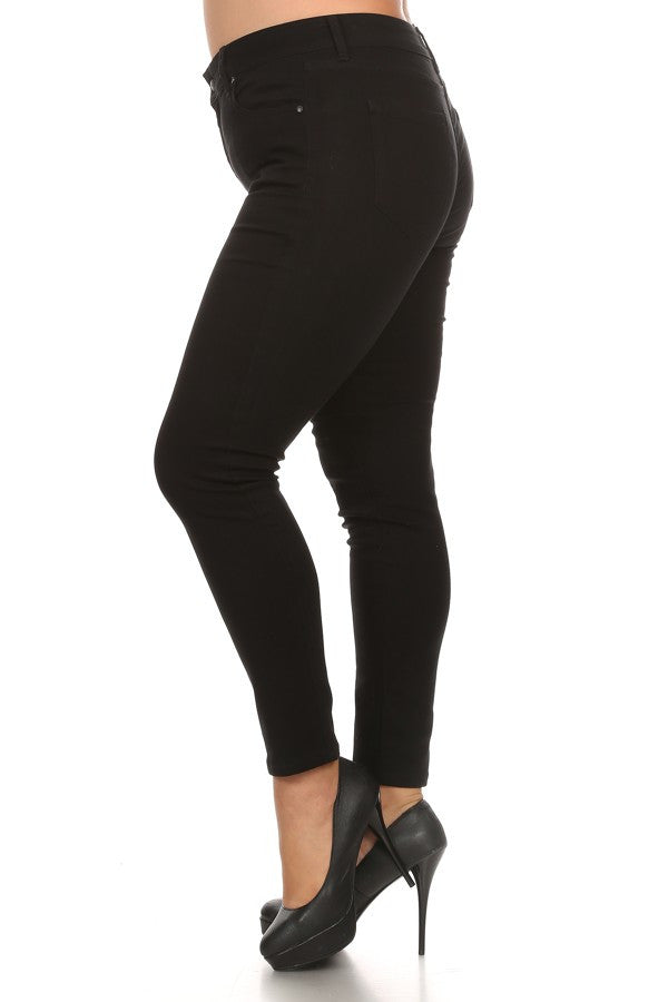 Mid Rise Basic 5 Pocket Skinny Black