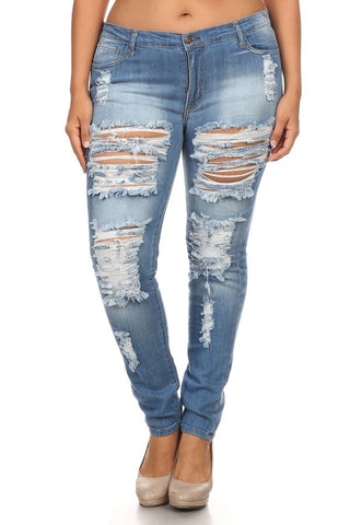 Mid Rise Denim Distressed Skinny