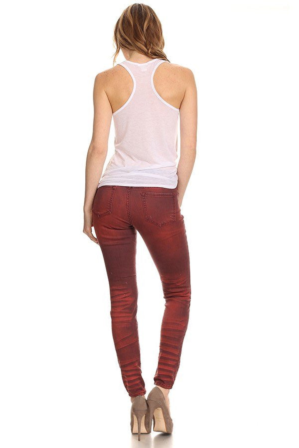 Skinny Mid Rise Ripped Denim Burgundy