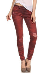 latest jeans women burgundy destroyed skinny cheap shop fashion style with free shipping