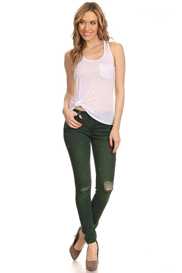 Olive Mid Rise Skinny Ripped Denim