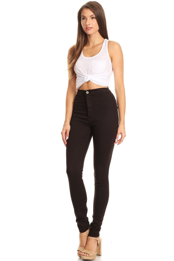 Back Round Pocket Slim fit Stretchy High Rise Jeans Chocolate