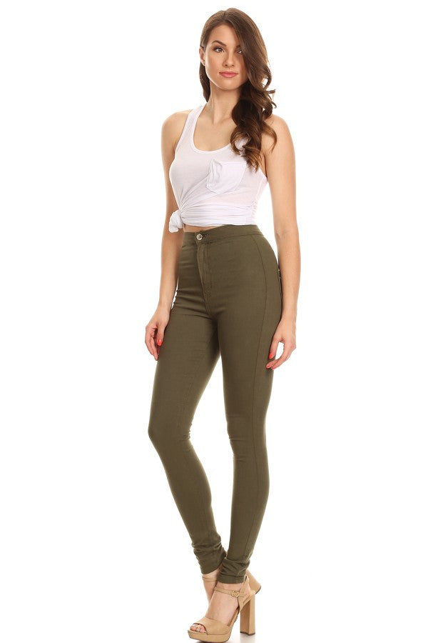 High Rise Round Back Pocket Slim fit Stretchy ArmyGreen