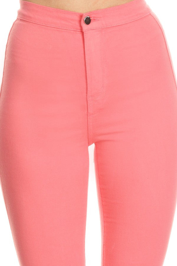 High Rise Round Back Pocket Slim fit Stretchy Peach
