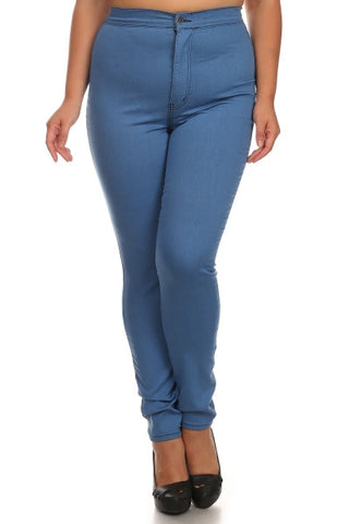 Back Round Pocket Slim fit Stretchy High Rise Jeans