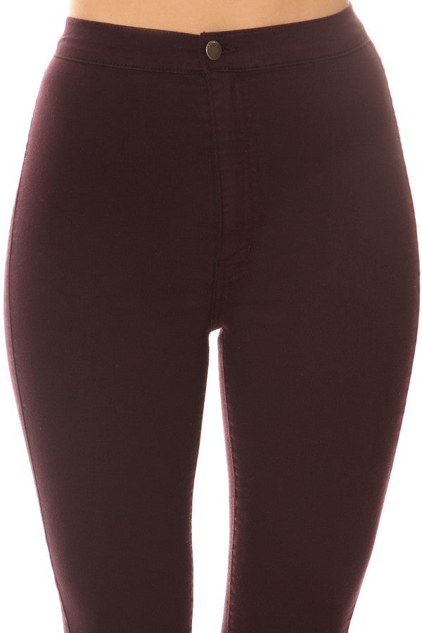 High Rise Round Back Pocket Slim fit Stretchy Plum
