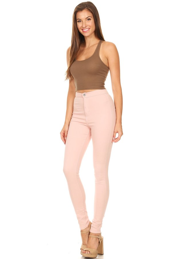 High Rise Round Back Pocket Slim fit Stretchy Blush