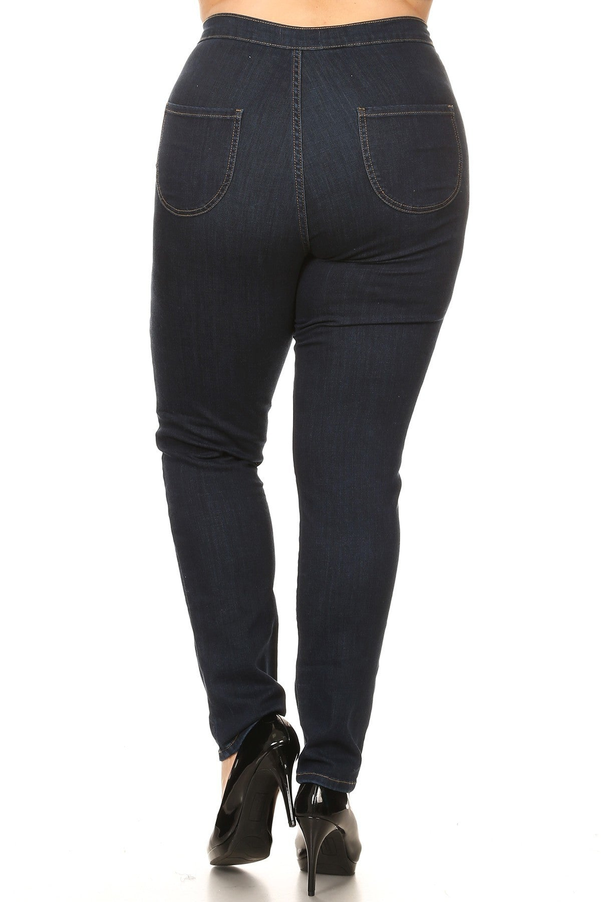 High Rise Skinny Jeans with Round Back Pocket