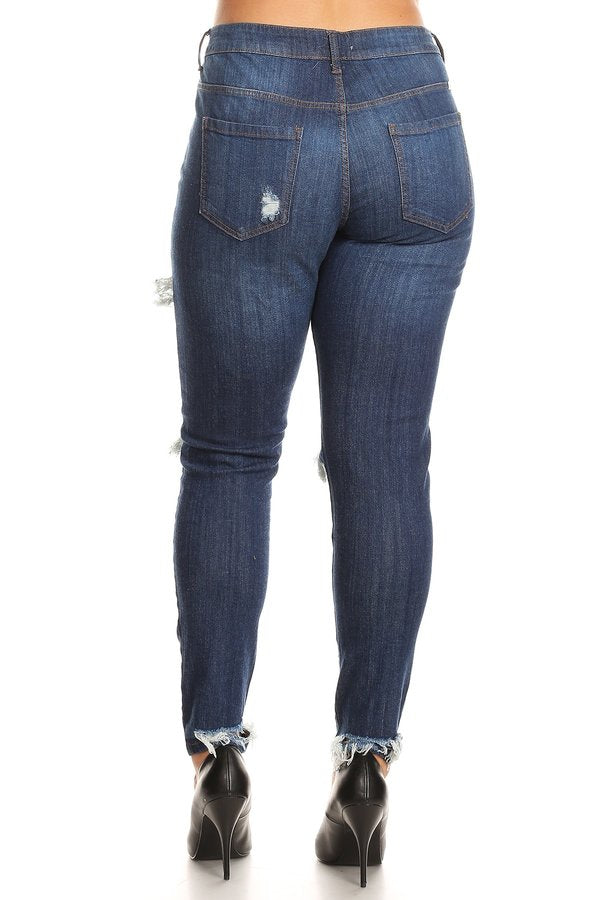 Heel Destruction Mid Rise Skinny Jeans