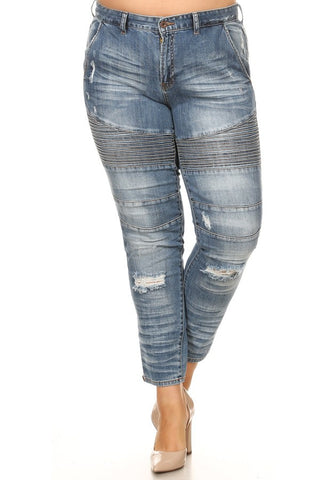 Overlaid Stitched Mid Rise Skinny Jeans