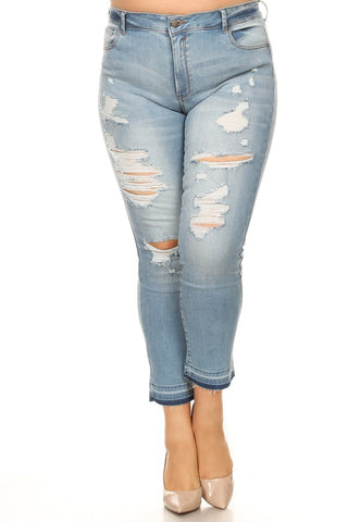Mid Rise Light Destruction Skinny Jeans