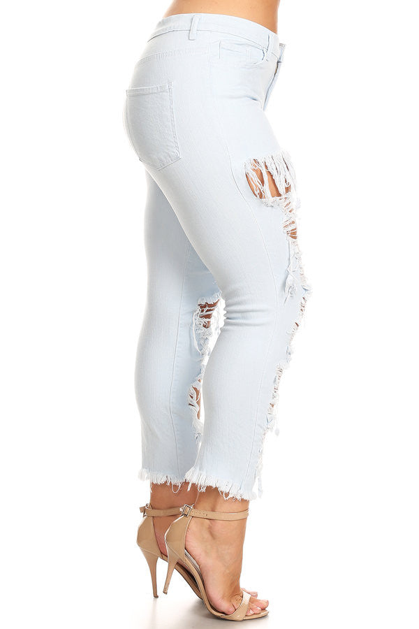 Mid Rise Frayed Leg Opening Skinny Jeans