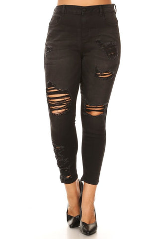 Mid Rise Skinny Jeans Hand Sanding & Destruction