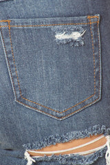 Boyfriend Jeans Hand Sanding Front Leg Destruction