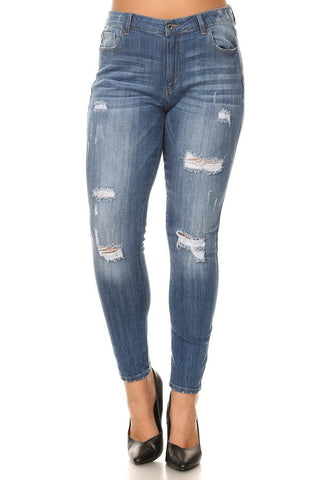 Mid Rise Skinny Jeans Whiskers & Leg Slices