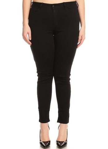 Mid Rise 5 Pocket Super Comfy Skinny Jeans Black