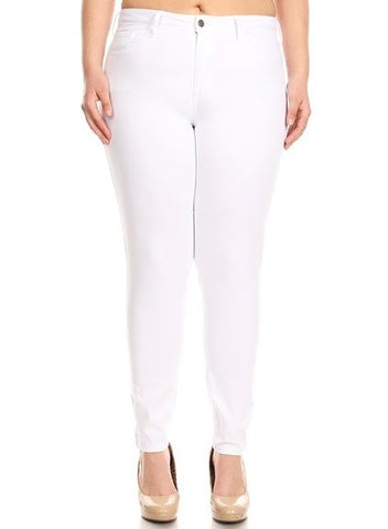 Mid Rise 5 Pocket Super Comfy Skinny Jeans White