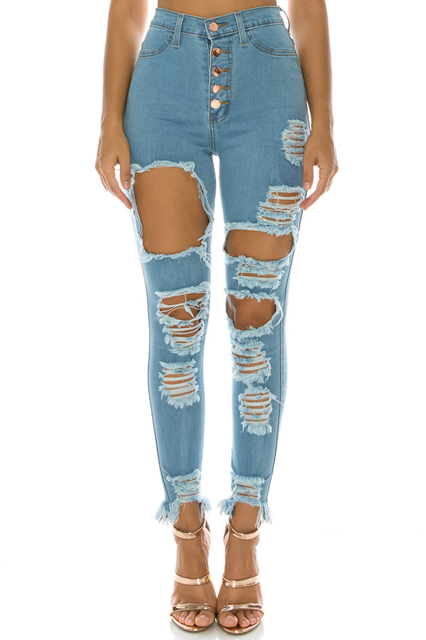 4f112ca16b3 Monotiques - Women High Rise Button Fly Skinny Jeans MBlue