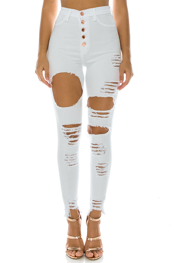 High Rise Button Fly Skinny Jeans White
