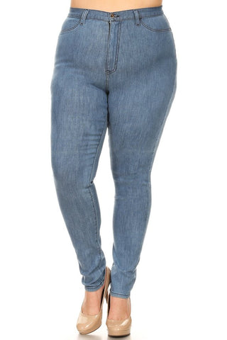 High Rise Dobby Skinny Stretchy Jeans