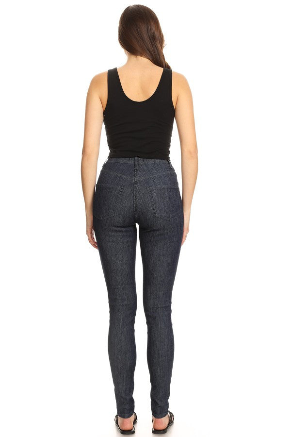 High Rise Dobby Skinny Stretchy