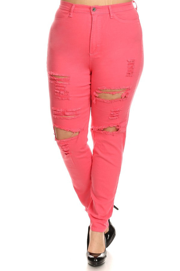 High Rise Destroyed Skinny Jeans Coral