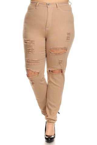 High Rise Destroyed Skinny Jeans Khaki