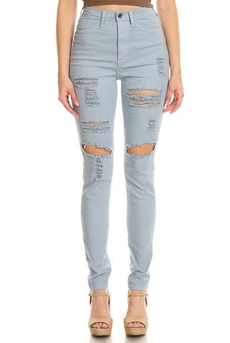Ripped Denim High Rise Destroyed
