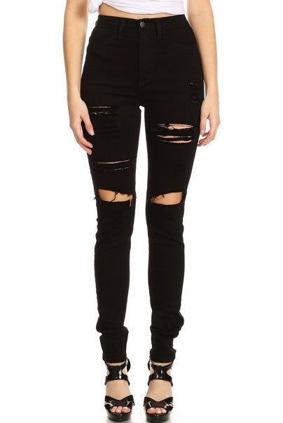Ripped Denim Black High Rise Destroyed
