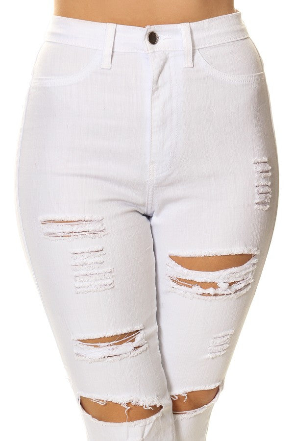 High Rise Destroyed Ripped Denim White