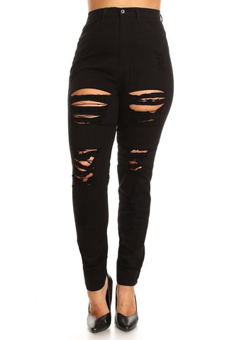 Solid Full Length High Waisted Ripped Skinny Jeans