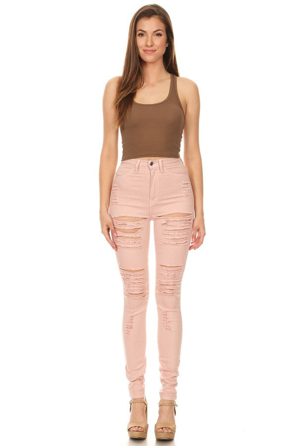 High Waist Destroyed Blush