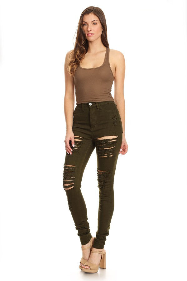 High Waist Destroyed Olive