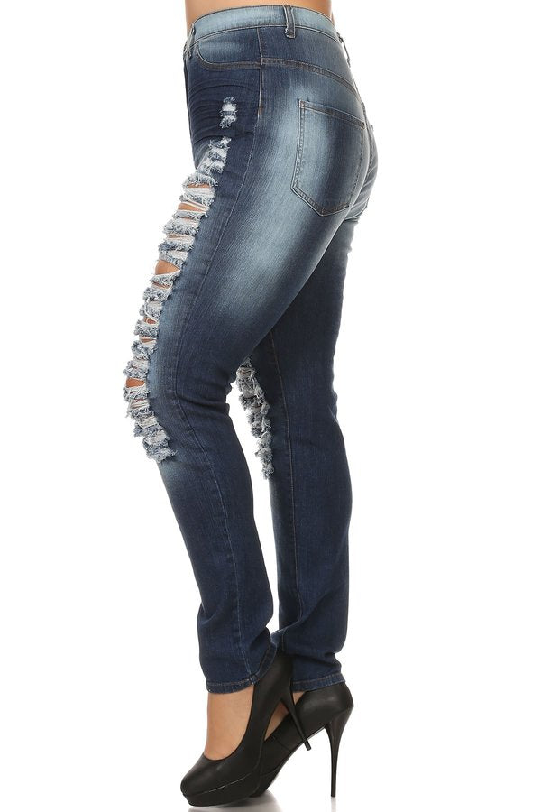 High Rise Skinny Jeans Thigh & Knee Slices