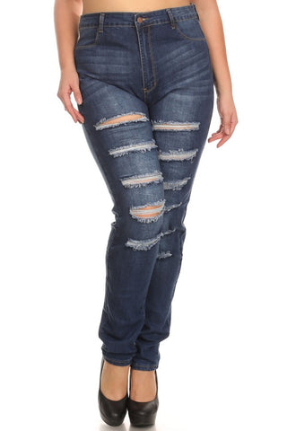 High Rise Thigh Destruction Skinny Jeans