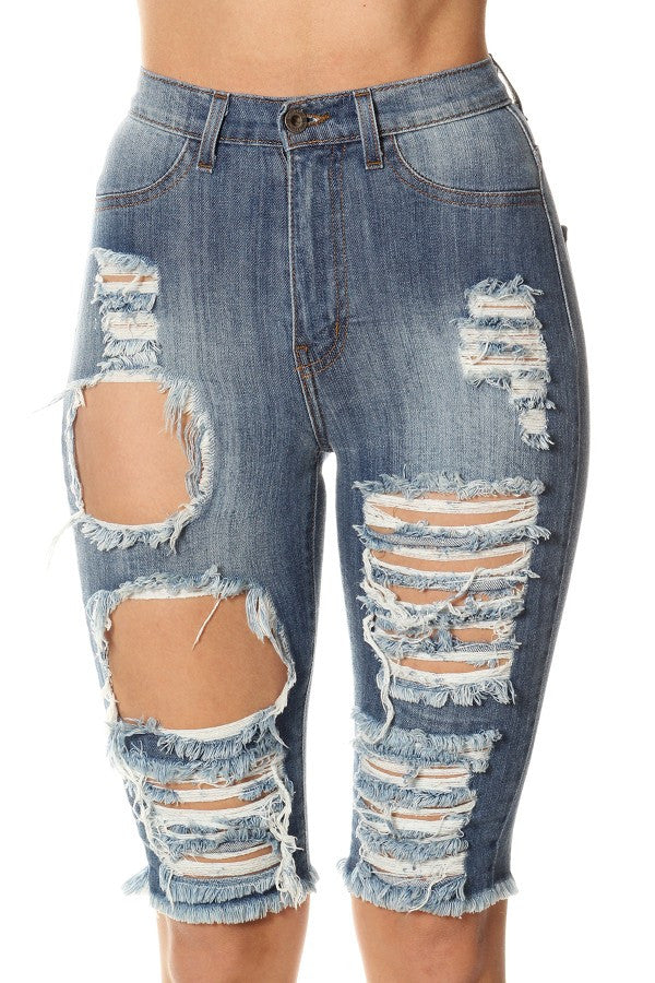 f349c73457e6e8 Monotiques - Women Jeans High Rise Skinny Bermuda Denim Short