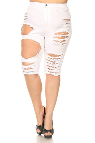 Knee Length Cutoff Slim Fit Denim White